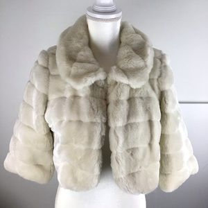 Forever 21 Ivory White Faux Fur Party Jacket M